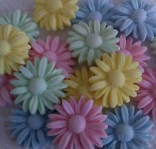 20 EDIBLE PLUSH PASTEL DAISIES Sugar Cake topper Cupcakes Baby Shower Easter