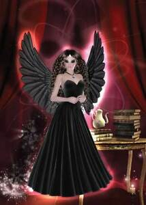 Gothic Angel Girls Birthday Card for women girls daughter sultry in red & black
