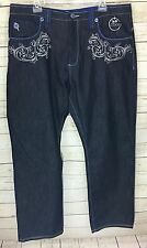 Men's Authentic COOGI Jeans Dark Wash Blue Silver Embroidery Size 44W x 35L
