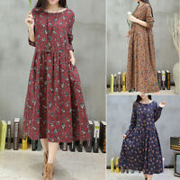 New Womens Floral Loose Long Sleeve Cotton Linen Shirt Casual Tunic Mid Dress