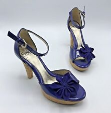 Sofft 1248718 Women Purple Patent Leather Floral Heel Shoe Size 6.5M Pre Owned