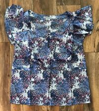 Julie Chai Ken for Anonymity Flutter Sleeve Scoopneck Monet Print Top Blue Sz S