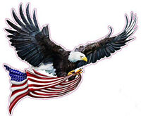 """Right Facing Soaring Eagle Flying with American Flag Decal 12"""" x 9"""" Free Shippin"""