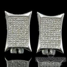 MEN STERLING SILVER WHITE GOLD FINISH KITE SQUARE GENUINE DIAMOND STUDS EARRINGS