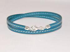 Handgefertigte Modeschmuck-Armbänder aus Leder und Sterlingsilber