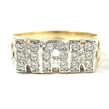 Gold NAN Ring White Cubic Zirconia Stones NEW 9ct Yellow Gold Size L 2g