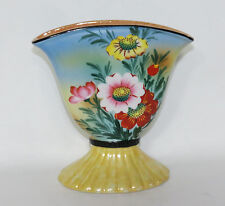 Vintage Trico China Hand Decorated Floral w Lusterware Fan Vase - Nagoya Japan