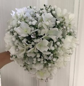 Brides Bouquet  Heart shaped white hydrangea and gypsophilla , diamante and gems