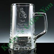 Personalised Engraved Glass Pint Tankard - FREE Engraving Wedding Best Man Usher