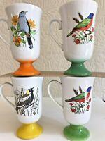 VTG Pedestal Mugs Fred Roberts Bird Lot 4 Footed Japan Irish Coffee Tea 10 oz