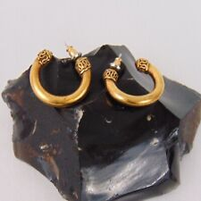 Indian Swirl Thick Heavy Gold Tone Small Hoops