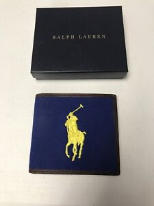 NWT Ralph Lauren Polo Big Pony Leather Canvas Bifold Blue Wallet WITH BOX