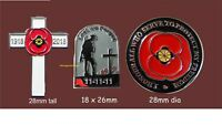 Wartime remembrance Enamel Pin Badges 11.11.11 Soldier, Cross and Honour Poppy