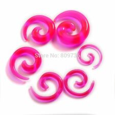 1 PAIR Acrylic UV Clear Pink Spiral Ear Plug Expander Tapers Gauges #C