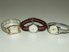 Vintage Lot 3 Working Ladies Mechanical Gold Watches - Belforte, Nisus, Croton