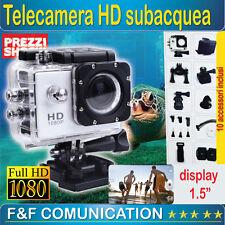 TELECAMERA SUBACQUEA HD FULL HD TIPO GO PRO ACCESSORI BICI SCI SPORT + SD 16 GB