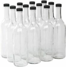 New listing Clear Glass Bordeaux Wine Bottles 750ml wBlack Plastic Screw Top Caps 12-pack