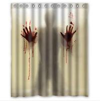 Halloween Novelty Blood Fingerprint Shower Curtain +12 Hooks Bathroom Waterproof