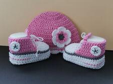 Babyschuhe Babychucks SL 10 cm+ Babymütze KU 37 Set gehäkelt Baumwolle Geschenk