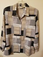 Womens Size 12 Blouse Button Up Browns Black tan Shoulder Pads Can Be Removed