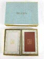 Vintage Tiffany & Co Double Deck Playing Cards Beige Brown & Gold Monogram