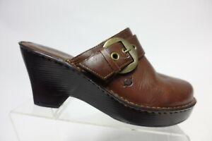 BORN Crown Leather Brown Sz 11 M Women Mule Wedge Clogs