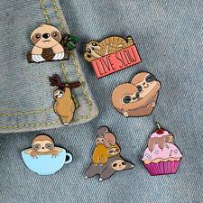 Family Happy Life Brooches Cartoon Badges Cute Sloth Koala Zoo Enamel Pin Animal