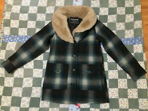 Filson women's trapper coat wool xs xsmall blue plaid shearling collar Made USA