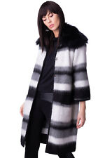 CRISTINAEFFE Knitted Coat Size 42 S Mohair Blend Fur Trim Made in Italy RRP €529
