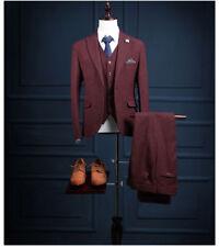 Burgundy 3 Piece Striped Groom Tuxedo Best Men Formal Wedding Suit Custom Made