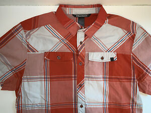 Black Diamond Short Sleeve Button Shirt, Men's XL, Orange Plaid