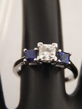Platinum 1.24 tcw Princess Cut Tanzanite DBlock AAA Diamond Ring F/VS Engagement