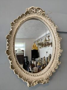 Vintage 1950S French Oval Mirror 44cm By 34cm Rococo Boudoir Chic