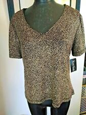 Ronni Nicole by Ouida Blouse Top NWT Gold Black Short Sleeve V-neck Stretch XL