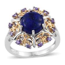 LAPIS LAZULI GENUINE GEMSTONE PURPLE DIAMOND SIMULATED BONDED BRASS RING SIZE 5