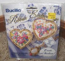 BUCILLA RIBBON EMBROIDERY SUMMER BLOSSOMS SET OF 2 HEART PINS KIT #40998~~NIP