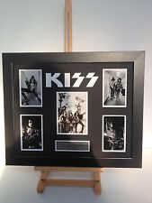 UNIQUE PROFESSIONALLY FRAMED, SIGNED KISS PHOTO COLLAGE WITH PLAQUE.