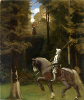 Oil painting Knight on horse Farewell to family Rushed to the battlefield canvas