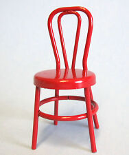 DOLLHOUSE MINIATURE OLD FASIONED RED METAL CAFE CHAIR