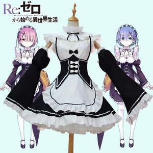 Re: Zero kara Hajimeru Isekai Seikatsu Rem Ram Maid Apron Dress Cosplay Costume