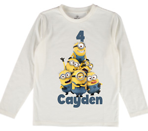 Minion Personalised T-shirt Baby Boys Girls Kids clothes tops name gift cartoon