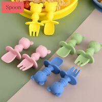 Training Feeding Baby Spoon Spoon Fork Set Silicone Tableware Baby Utensils