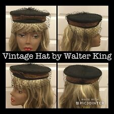 Vintage Ladies Walter King Hat Black W/ Veil Brown Satin Band & Bow 19� (3)