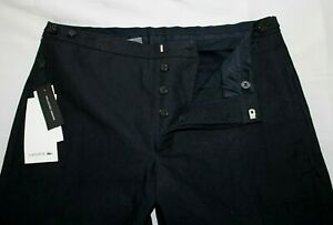 NWT $295 LACOSTE 33 Cotton Linen Navy Waist Adjust RUNWAY COLLECTION Pants