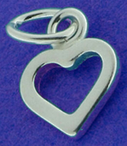 5 SMALL STERLING SILVER OPEN HEART CHARMS, 9 X 7 MM
