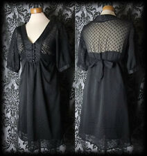 Gotico Nero Bottoni morbid rimane Tie Tea Dress 6 8 Vittoriano Vintage