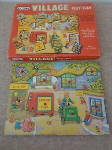 VICTORY 1982 VILLAGE PLAY TRAY 8 INSERTS JIGSAW PUZZLE TOY SHOP BAKERY ANIMALS