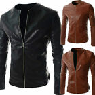 Fashion Sexy Slim Fit Men's PU Leather Jacket New Korean Casual Joker Coats Tops
