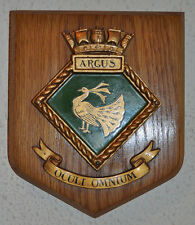 HMS Argus plaque shield with cast metal crest Royal Navy RN Aircraft Carrier WW2