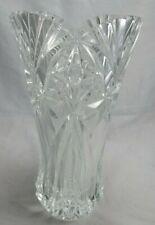 "Cristal Darques Durand Vincennes Clear Blown Glass Deep Cut Vase Fan Rim 11.75"""